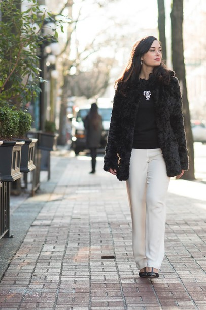 coco and vera blogger coat sweater pants shoes jewels bag