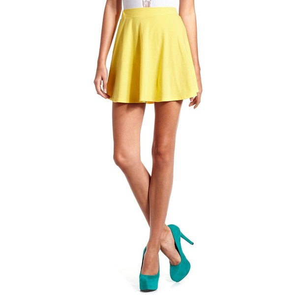 Lemon Yellow Skater Skirt - Charlotte Russe - Polyvore