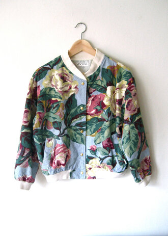 big pattern bomber jacket jacket flowers floral indie colorful roses vintage spring jacket grunge denim grunge jean jacket blue jean jackets jean jackets pinterest tumblr punk girly cute