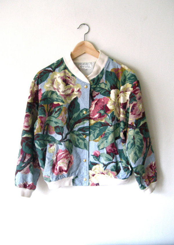 big pattern bomber jacket jacket flowers floral indie colorful roses vintage spring jacket floral grunge denim grunge jean jacket blue jean jackets jean jackets pinterest tumblr punk girly cute