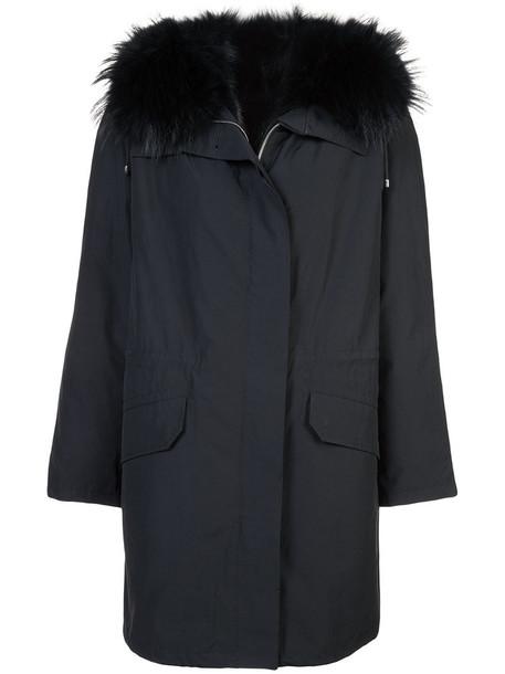 Army Yves Salomon parka fur fox women classic cotton black coat