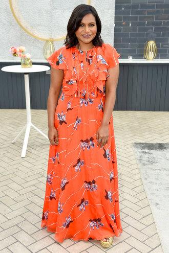dress maxi dress orange orange dress mindy kaling