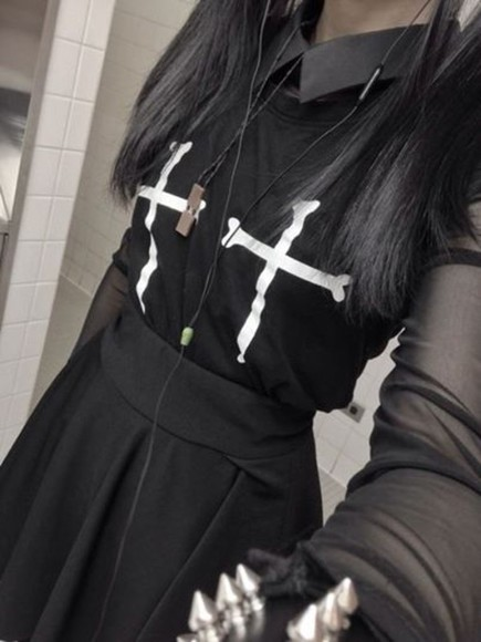 shirt t-shirt goth cross grunge cute cross shirt