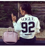sweater,white sweater,fashion,jacket,vogue,swag,hipster,black and white,bomber jacket,givenchy,number,luxury,ponytail,white coat,white,black,winter outfits,sweatshirt,jersey,dope,vogue sweater,vogue sweatshirt,white vogue,white vogue sweater,black letters,vogue clothes,purse,white vogue jacket,white jacket,pullover,style,mode,cute sweater,vogue wintour,vouge fashion,white shirt,shirt