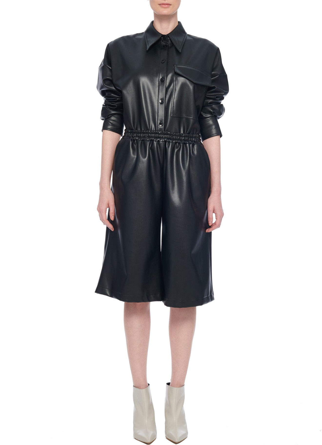 Tibi Faux Leather Long Short