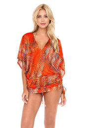 dress,cover up,luli fama,bikini luxe,beach dress,beach,swimwear,luxury,print,orange,bikiniluxe