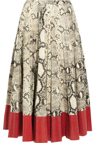 skirt leather skirt snake pleated leather print snake print red