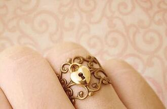 jewels ring heart gold lock