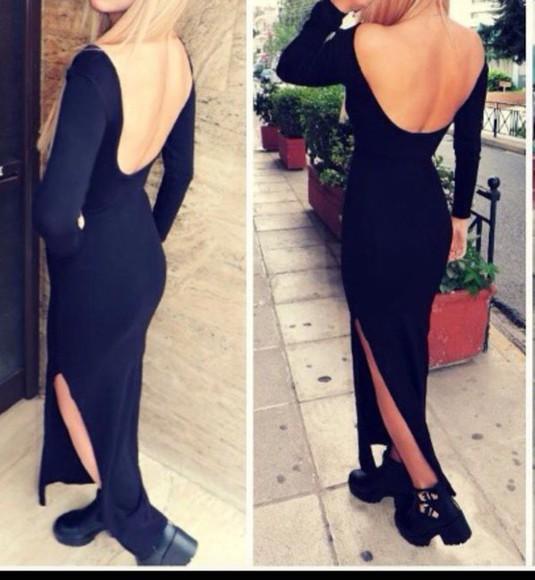 dress backless dress black style fashion black dres winter dress winter/autumn backless black dress fashionista stylish trendy trend lolita dress