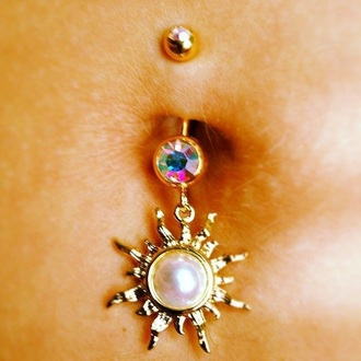 jewels belly piercing belly ring belly button ring jewelry sun