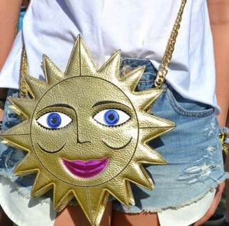 bag sun coachella gold crossbody bag