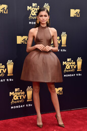 dress,prom dress,red carpet dress,zendaya,pumps,brown,brown dress,celebrity style,mtv movie awards