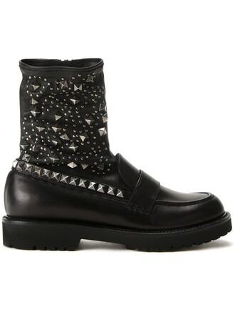 studded women boots black shoes