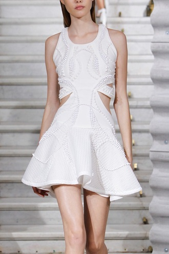 dress pearls givenchy white dress