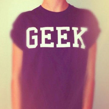 GEEK black tshirt for women tshirts shirts shirt top on Wanelo