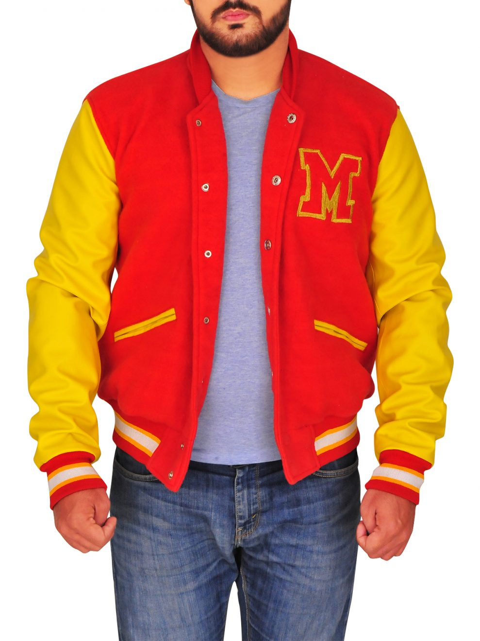 Men/'s Micheal Jackson MJ Thriller M Logo Letterman Varsity Red Yellow Jacket