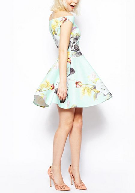Women's boat neck leak shoulder flower printing dresses online