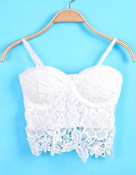 top bustier white lace top summer top cute