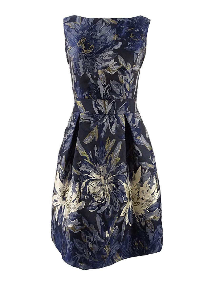 Jessica Howard Women's Metallic Floral Brocade Flare Dress (12, Navy Multi) at Amazon Women's Clothing store: