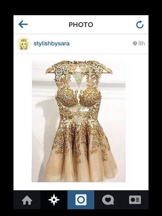 dress gold pretty fashion formal dress