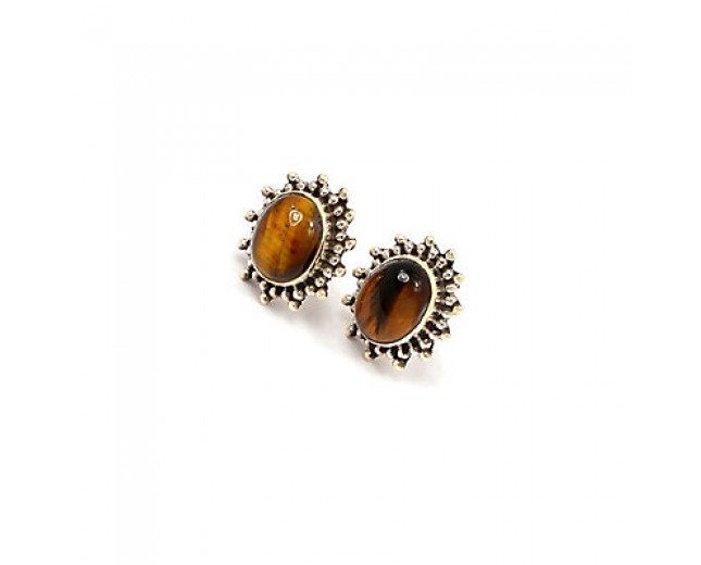 Handmade 925 sterling silver Tiger Eye Stud