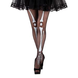 Skeleton bones print black and white tights halloween fancy dress costume