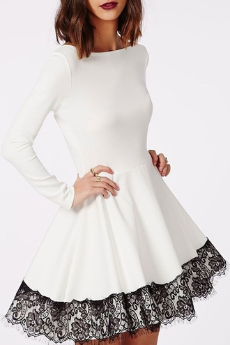 dress long sleeves lace skater dress streetwear zaful cute