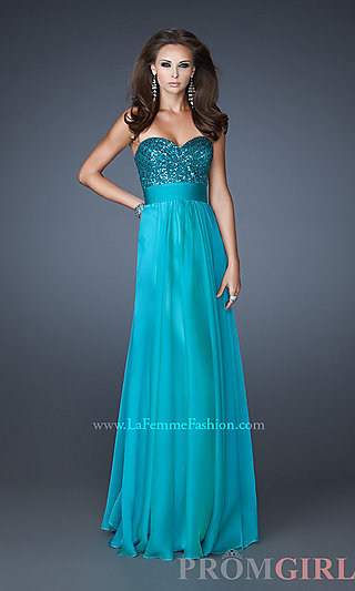 La Femme Strapless Prom Gown, Pageant Gowns and Dresses-PromGirl