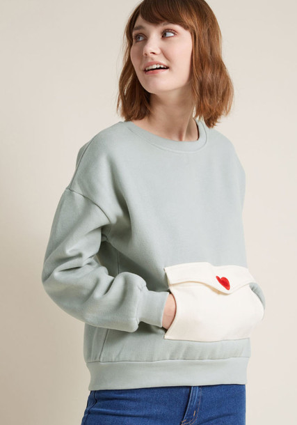 108636 sweatshirt heart embroidered style new cotton grey red sweater