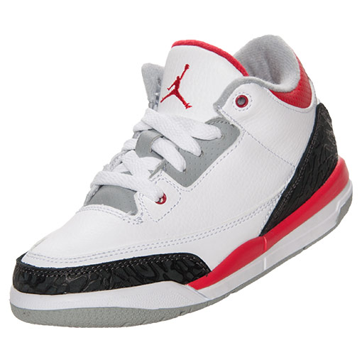 Boys' Preschool Air Jordan Retro 3 Basketball Shoes | FinishLine.com | White/Fire Red/Neutral Grey/Black