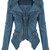 Studded Shoulder Denim Blazer - Blue