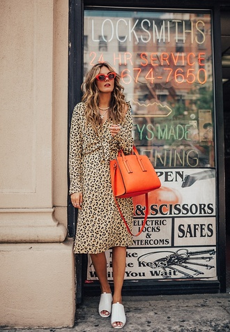 shirt tumblr midi dress leopard print printed shirt matching set bag orange shoes white shoes mules sunglasses red sunglasses dress work outfits office outfits