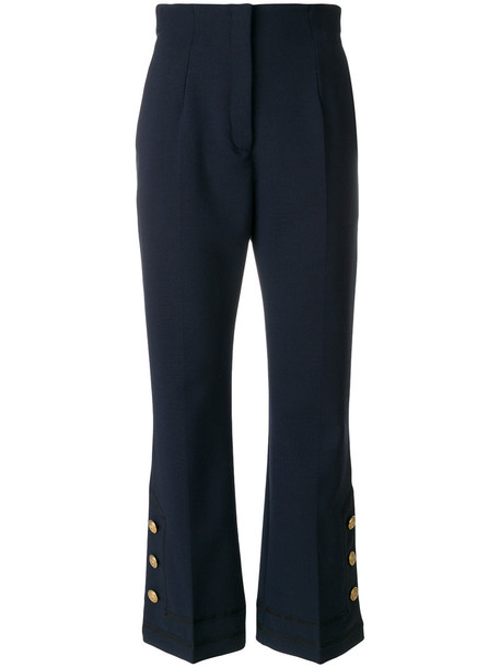 Alberta Ferretti sailor style cropped women spandex blue pants