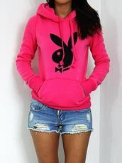 sweater,hoodie,fashion,pullover,playboy,denim,girly