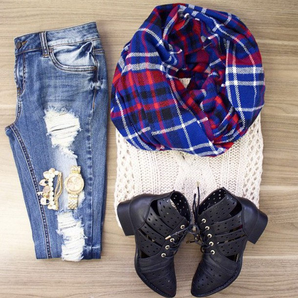 scarf sweater jeans boots jewelry