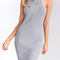 Gray halter ribbed knitted sexy bodycon sweater dress