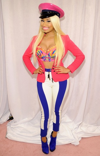 pants hat middrift jacket nicki minaj tank top
