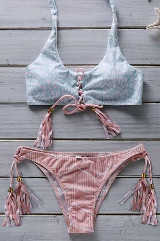 swimwear bikini summer beach blue pink girly cute