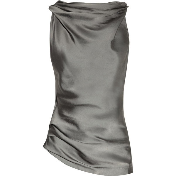 Donna Karan Cowl-neck matte-satin and jersey top - Polyvore