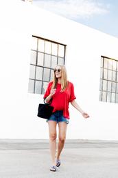 eat sleep wear,blogger,shorts,shirt,bag,shoes,summer outfits,slide shoes,red t-shirt,denim shorts
