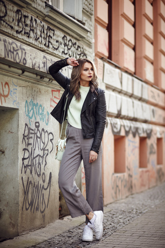 masha sedgwick blogger perfecto wide-leg pants grey pants