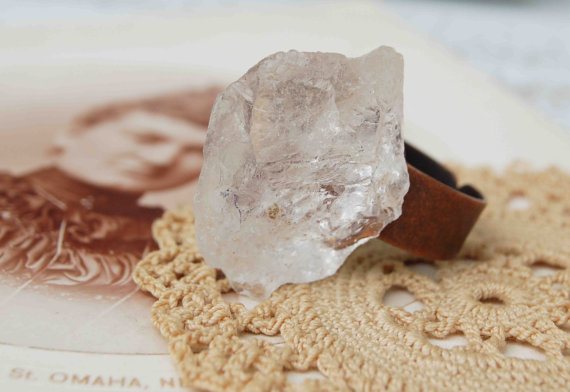 Ice  quartz crystal rock ring by redtruckdesigns on etsy