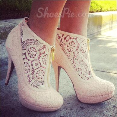 Elegant White Coppy Leather Cut-Outs High Heel Ankle Boots