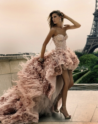 prom pink dress gown high low dress dress prom dress wedding dress wedding clothes high-low dresses feathers cute dress beige dress glitter dress long formal dress blush pink bridal dress ruffle dress