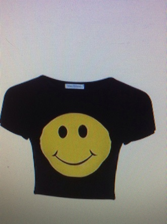 shirt smiley face black printed crop top
