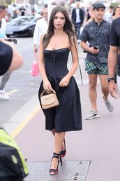 skirt,top,sandals,two piece dress set,two-piece,black dress,black,emily ratajkowski,model off-duty,streetstyle,cannes,midi dress,bustier,shoes,bag