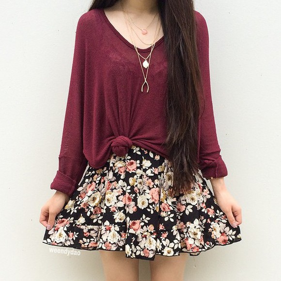 sweater long sleeves floral dress fashion fall outfits red floral red sweater skirt