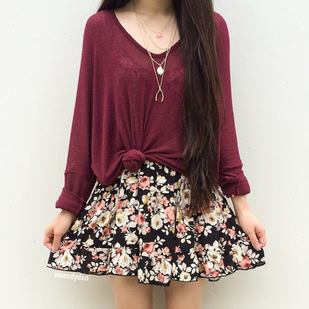 Sweater: red sweater, long sleeves, floral dress, skirt, roses ...