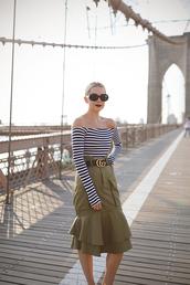 skirt,tumblr,khaki,midi skirt,top,stripes,striped top,off the shoulder,off the shoulder top,sunglasses,round sunglasses,belt,le fashion,blogger,shirt,gucci belt,green dress
