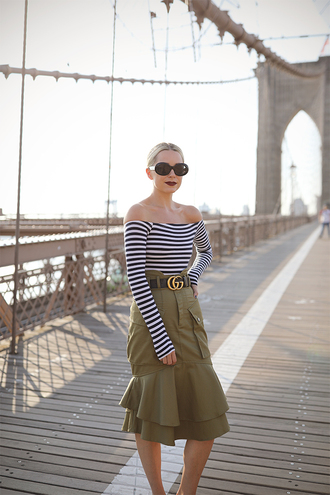skirt tumblr khaki midi skirt top stripes striped top off the shoulder off the shoulder top sunglasses round sunglasses belt le fashion blogger shirt gucci belt green dress